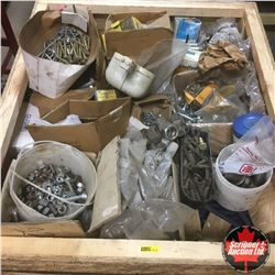 Crate Lot: Large Quantity & Variety of Nuts, Bolts, Washers & More !