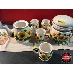 Sunflower Tea Set with Cookie Jar (pot missing lid)
