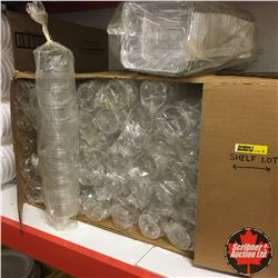 Shelf Lot: Disposable Catering/Concession Supplies: Wine Glasses, Champagne Glasses, Styrofoam Bowls