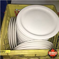 CHOICE OF 12:  Milk Crate Lot: Dinerware Dinner Plates (Approx 30)