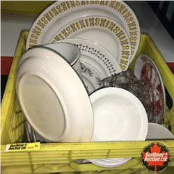 CHOICE OF 12:  Milk Crate Lot: Dinerware Asstd (Coffee Cups, Plates & Dessert Bowls)