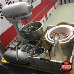 Tray Lot: Electric Knife Sharpener, Mix Master, Bowls, etc