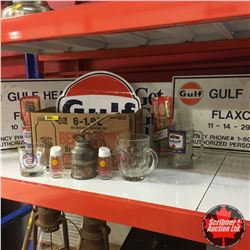 Oil & Gas Collectible/Antique Grouping: Gulf Signs, Service Station Advertising Scrapers, Gulf Decal