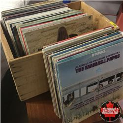 Apple Wood Crate with 66 Record Albums - Large Variety !