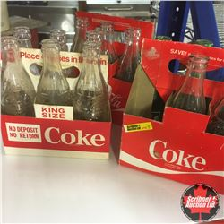 Vintage 6 Pack Coca Cola Carriers with Bottles (3)