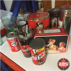 Coca-Cola Collectibles Collection (Candle, Straw Holder, Tins, Tumblers, etc)