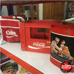 Coca-Cola Grouping: Portable Storage Seat, Plastic Large Bottle Crate & Trash Can