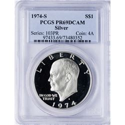 1974-S $1 Ike Eisenhower Proof Silver Dollar Coin PCGS PR69DCAM