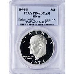 1974-S $1 Ike Eisenhower Proof Silver Dollar Coin PCGS PR69DCAM