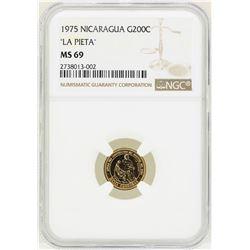 1975 Nicaragua 200 Cordobas Gold Coin NGC MS69