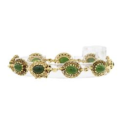 14KT Yellow Gold 6.00 ctw Jade Bracelet
