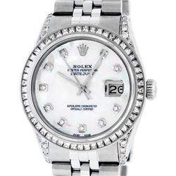 Rolex Men's Stainless Steel MOP Diamond Lugs 36MM Datejust Wristwatch