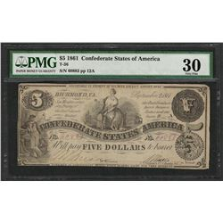 1861 $5 Confederate States of America Note T-36 PMG Very Fine 30