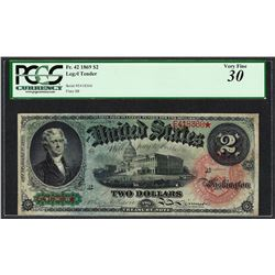 1869 $2 Rainbow Legal Tender Note Fr.42 PCGS Very Fine 30