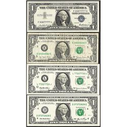 Lot of (4) Fancy Serial Number Notes