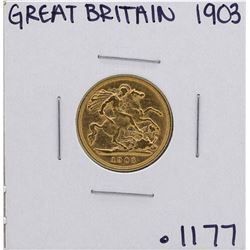 1903 Great Britain 1/2 Sovereign Gold Coin