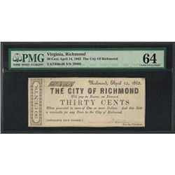 1862 Thirty Cents The City of Richmond Obsolete Note PMG Choice Uncirculated 64