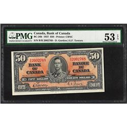 1937 $50 Bank of Canada Note BC-26b PMG About Uncirculated 53EPQ