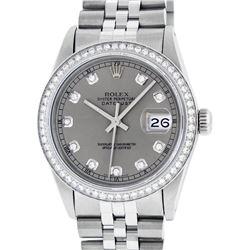 Rolex Men's Stainless Steel Slate Grey Diamond 36MM Datejust Wristwatch