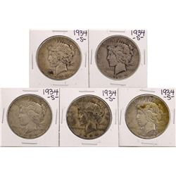 Lot of (5) 1934-S $1 Peace Silver Dollar Coins