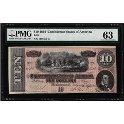 1864 $10 Confederate States of America Note T-68 PMG Uncirculated 63