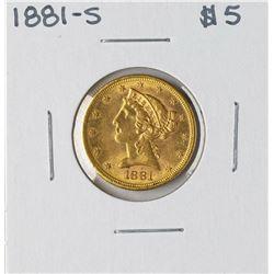 1881-S $5 Liberty Head Half Eagle Gold Coin