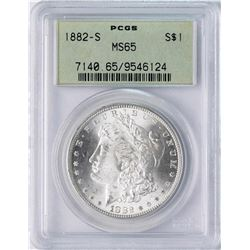 1882-S $1 Morgan Silver Dollar Coin PCGS MS65 Old Green Holder