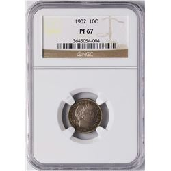 1902 Proof Barber Dime Coin NGC PF67