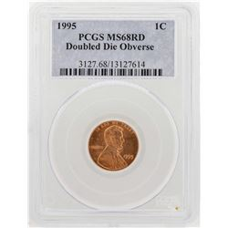1995 Lincoln Cent Double Die Obverse PCGS MS68RD