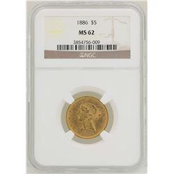 1886 $5 Liberty Head Half Eagle Gold Coin NGC MS62