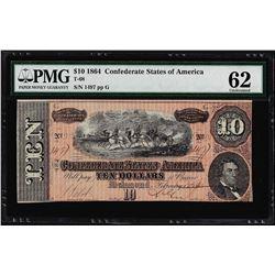 1864 $10 Confederate States of America Note T-68 PMG Uncirculated 62