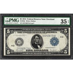 1914 $5 Federal Reserve Note Cleveland Fr.859c PMG Choice Very Fine 35EPQ