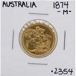 1874-M Australia Melbourne Queen Victoria Sovereign Gold Coin