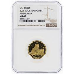 2005 Isle of Man 1/5 Crown Himalayan Gold Coin NGC MS65