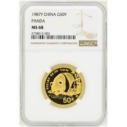 1987 China 50 Yuan Panda Gold Coin NGC MS68