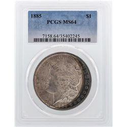 1885 $1 Morgan Silver Dollar Coin PCGS MS64 Amazing Toning