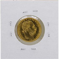 1890KB Hungary 8 Forint 10 Francs Gold Coin