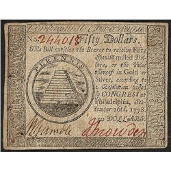 September 26, 1778 $50 Continental Currency Note