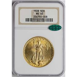1928 $20 St. Gaudens Double Eagle Gold Coin NGC MS65 CAC
