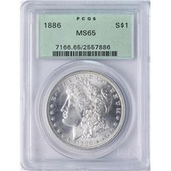 1886 $1 Morgan Silver Dollar Coin PCGS MS65 Old Green Holder