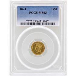 1874 $1 Indian Princess Head Gold Dollar Coin PCGS MS63