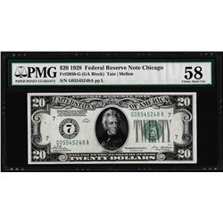 1928 $20 Federal Reserve Note Chicago Fr.2050-G PMG Choice About Uncirculated 58