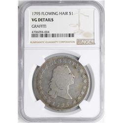 1795 $1 Flowing Hair Silver Dollar Coin NGC VG Details Graffiti