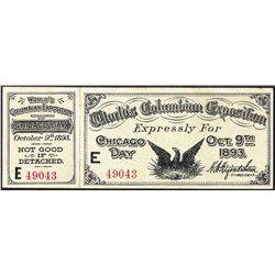October 9th, 1893 World's Columbian Exposition Ticket with Attached Stub