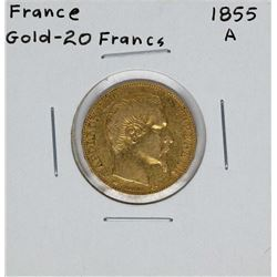1855-A France 20 Francs Gold Coin