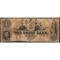 1858 $1 The Union Bank Boston, Massachusetts Obsolete Note
