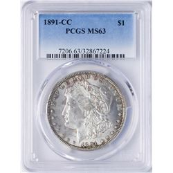 1891-CC $1 Morgan Silver Dollar Coin PCGS MS63