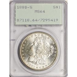 1880-S $1 Morgan Silver Dollar Coin PCGS MS64 Old Green Holder
