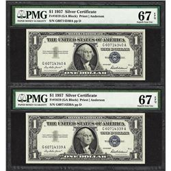 Lot of (2) Consec. 1957 $1 Silver Certificate Notes PMG Superb Gem Unc 67PPQ