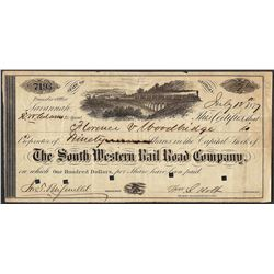 1877 South Western Rail Road Company Georgia Script